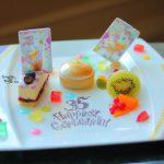 """ドナルドとデイジーがお祝い!ドリーマーズ・ラウンジ「Tokyo Disney Resort 35th """"Happiest Celebration!"""" デザートメドレー」"""